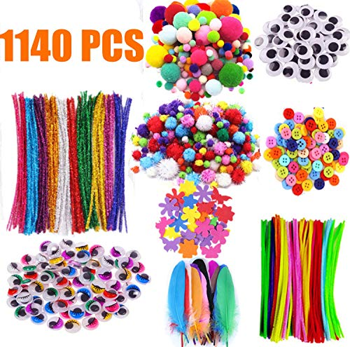 Arts and Crafts Supplies for Kids Craft Art Supply Kit Toddlers Age 4 5 6 7 8 9 All in One DIY Pipe Cleaners Crafting College Set Girls