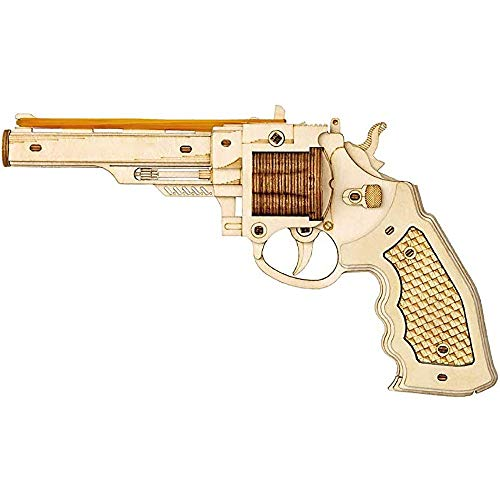 Travel Pillows 3D Wooden Puzzle Pistol Model Kit Best DIY Craft for Assembly Launchable Toy Game Adults and Children