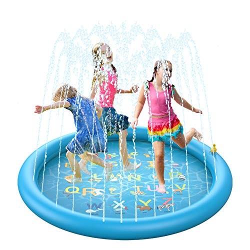 BOIROS Splash Pad Water Sprinkler Mat for Kids 68'' 3-in-1 Summer Wading Pool Outdoor