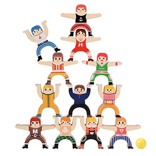 Family Game Wooden Hercules Balance Stacking High Building Blocks Kids Educational Development Toys 12pcs 1set