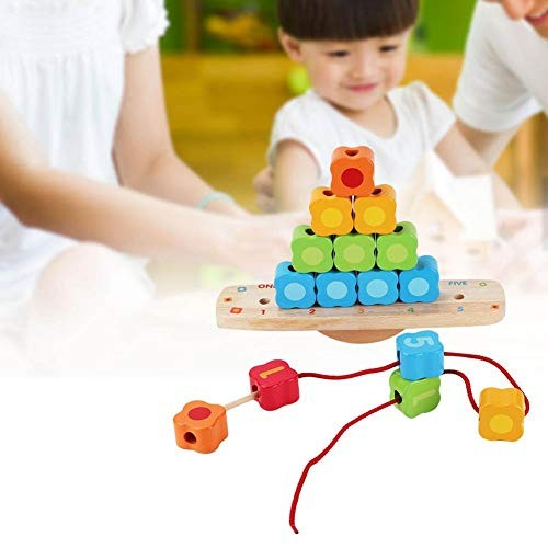 Oyunngs Kids Children Wood Building Blocks Beads Balance Stacks Toy Pile Up Educational Toys for Infants Fine Motor Skill