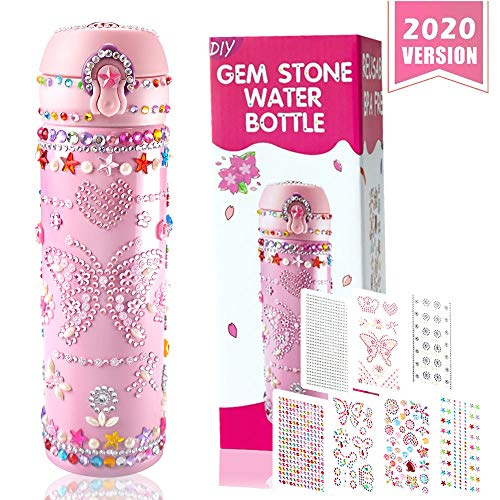 DECOMEN Create Your Own Water Bottle with Tons of Rhinestone Gem Stickers- Craft Kit & DIY Art Set for Children Surprise Gift Girls – Fun and Kids Age 6-12