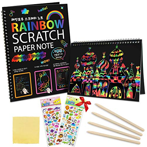 ZMLM Scratch Paper Art Notebooks – Rainbow Off Set for Kids Activity Color Book Pad Black Magic Craft Supplies Kits Birthday Party Favor Game Christmas Toys Gift