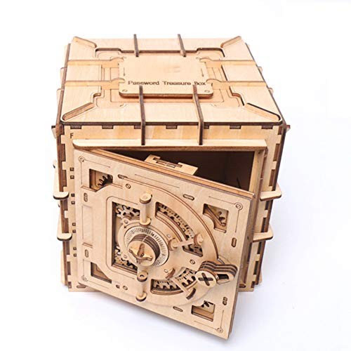 HGFDSA Children's Wooden Puzzle Early Education Magic Box Building Block Treasure Chest Toy Game Laser Cutting Creative Crafts Storage Password Suitable for 10 Years Old and Above