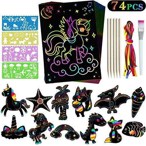 Yegrape Scratch Art Set for Kids – Rainbow Magic Paper Supplies Decoration Classroom School Birthday Party Favors Game Crafts Gift Children 74 Pcs