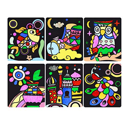 NUOBESTY 1 Set Children Scratch Paper Rainbow Magic DIY Sticky Painting Cartoon Animal Castle Arts Crafts Kit Toy for Kids Assorted Color