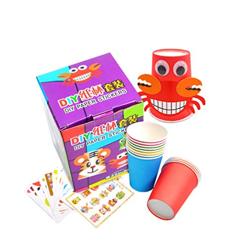 DIY Paper Cup Craft Kits Art Set with 12pcs Colorful and 12 Sheet Stickers Educational Toys for Kids Children