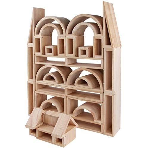 ERDFCV 58 PCS Wooden Building Blocks Set – Log Hollow Kindergarten Large Construction Bricks Toy for Kids