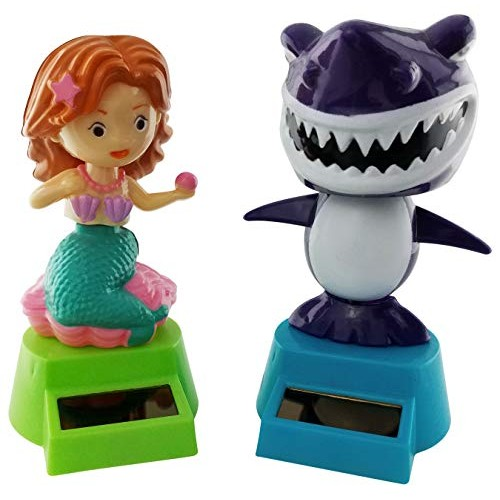 Outdoors By Design Solar Dancing Mermaid and Shark Toys are Powered Figures Also Called Dashboard Toy Decorations or Bobble Head