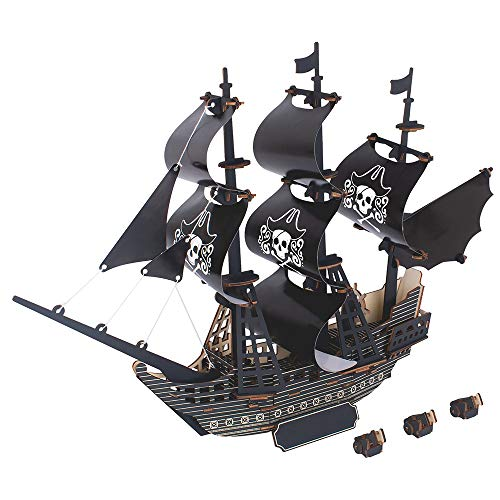 Kkyeye Wooden Puzzle Dimensional Pirate Ship Kits DIY Model Building Manual Craft Toy Gift for Adults & Teen Boys Girls