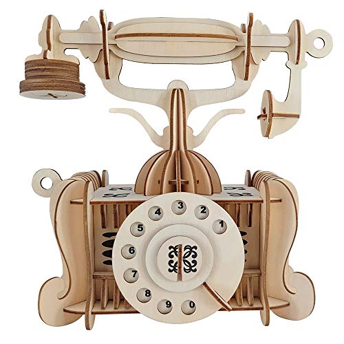Kkyeye Wooden Puzzle Retro Telephone Dimensional DIY RetroTelephone Kits Model Building Manual Craft Toy Gift for Adults & Teen Boys Girls