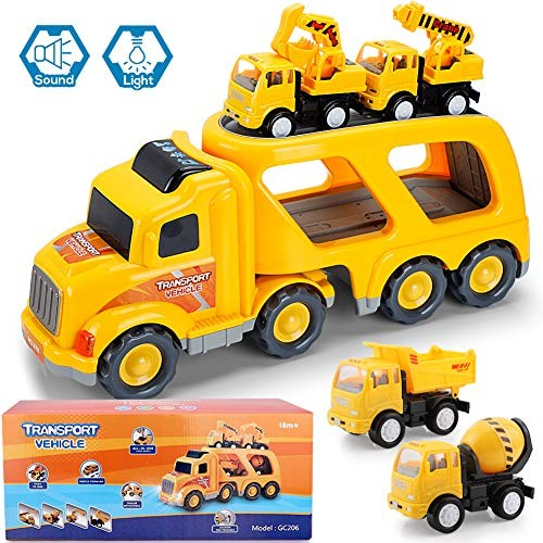 Construction Truck Toys with Sound and Light Cars Toy Set for 3 4 5