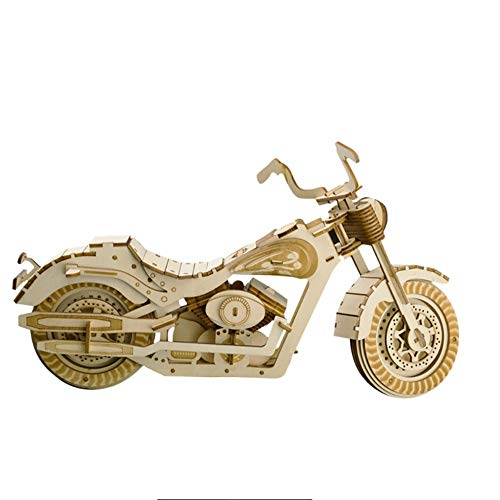 Kkyeye DIY Stereoscopic Wooden Puzzle Motorcycle Craft Model Kits Toys for Adult Children