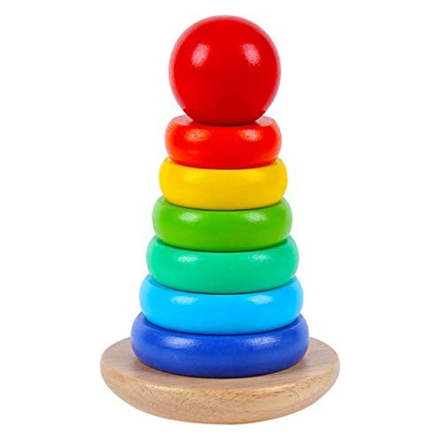 ERDFCV Wooden Ring Stacker Toy Building Blocks-Children's Tumbler- Babies Rainbow Tower Toys