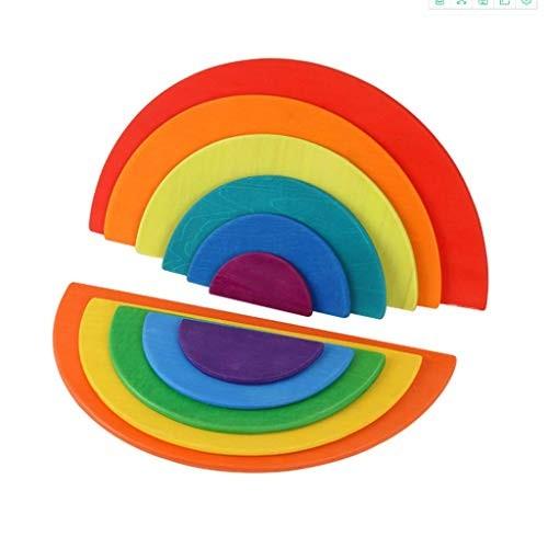 LJH Rainbow Building Blocks Wooden Creative Toys Arch Bridge Half-Moon Puzzle Early Childhood Education Jigsaw Fx