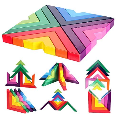 DouRyoku Wooden Rainbow Stacked Games Geometric Building Blocks Creative Educational Toys Children Toddlers