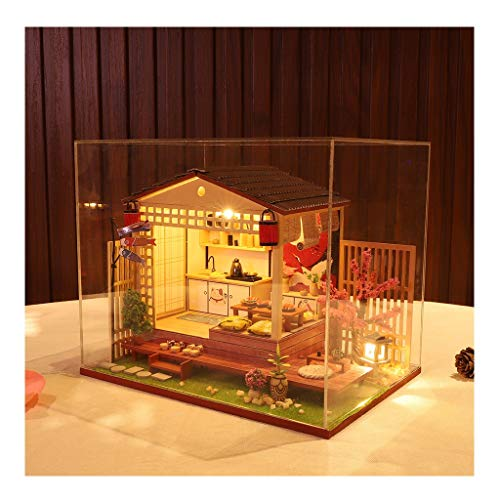 KingWo DIY Mini Miniature Dollhouse Kit Wood Craft Construction Model Building Toys with Dust Cover for Valentine's Gift