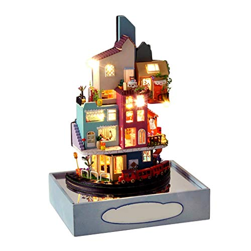 KingWo DIY Miniature Dollhouse Kit for Adults & Children Wooden Mini House Crafts Cloud Town Villa Model Building Set Puzzles Kits 1 24 Scale Creative Room Idea Gift