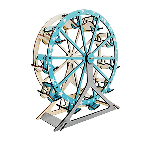 JLCP 3D Wooden Puzzle Ferris Wheel Building Model Kit DIY Laser-Cut Craft Self-Assembly Adult Child Educational Toy Handmade Gifts