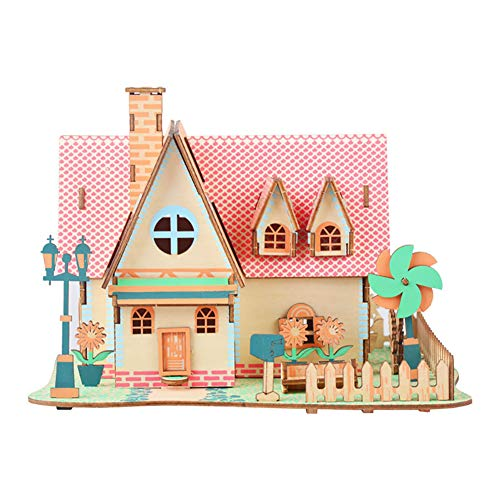 JLCP 3D Wooden Puzzle Sunflower Estate Building Model Kit DIY Laser-Cut Craft Self-Assembly Adult Child Educational Toy Handmade Gifts