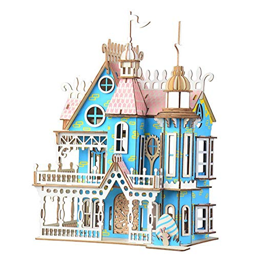 JLCP 3D Wooden Puzzle Dream Villa DIY Building Kit Craft Laser-Cut Mechanical Model Self-Assembly Educational Toy Handmade Gifts