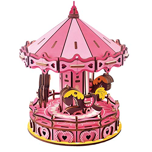 JLCP 3D Wooden Puzzle Carousel Building Model Kit DIY Laser-Cut Craft Self-Assembly Adult Child Educational Toy Handmade Gifts