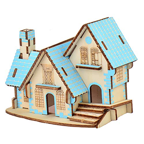 JLCP 3D Wooden Puzzle Blue Dream Cottage Building Model Kit DIY Laser-Cut Craft Self-Assembly Adult Child Educational Toy Handmade Gifts