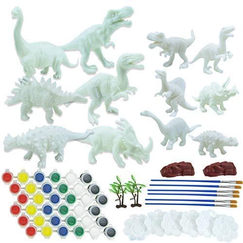eiaagi 64PC DIY Crafts and Arts Set Painting Kit Handmade Creative Dinosaur 3D Animals Model Graffiti Toys for Creativity Gift Paint Games