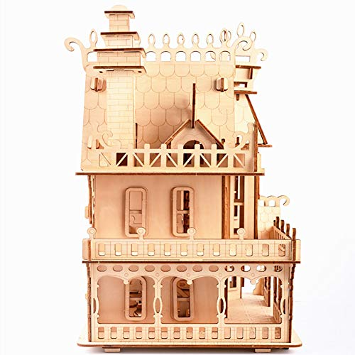 JLCP 3D Wooden Puzzle Log Color Dream Villa Building Model kit DIY Laser-Cut Craft Self-Assembly Child Educational Toy Hand-Assembled Gifts