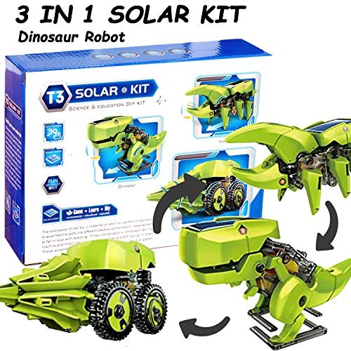 TooFu 3 in 1 Solar Dinosaur Toy Robot DIY Assembly Model Technology Production Childrens Science Experimental Physics