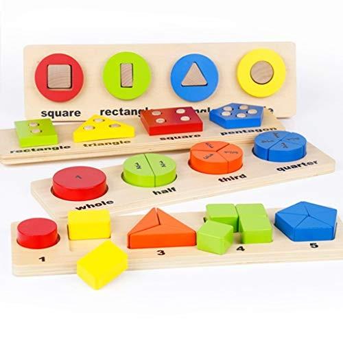 ERDFCV Wooden Building Blocks Toy- 50 Piece Early Education Geometry Score Board Children's Puzzle Shape Cognitive Decomposition Set