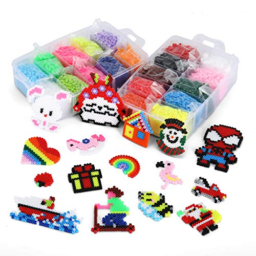 Ollieroo 16000 pcs Fuse Iron Beads Kit 20 Colors Kids Perler Craft Multiple Patterns with Storage Case Tweezer Ironing Papers Pegboards
