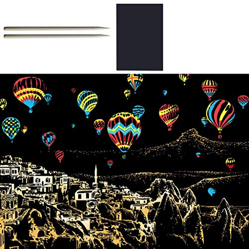 Binory 2PCS Magic Rainbow Scrape Painting Paper with Drawing Stick City Night Scene DIY Scratch CardKids Arts and Crafts Kit Fun Educational Learning Stress Relief Toys Gift – Hot Air Balloon