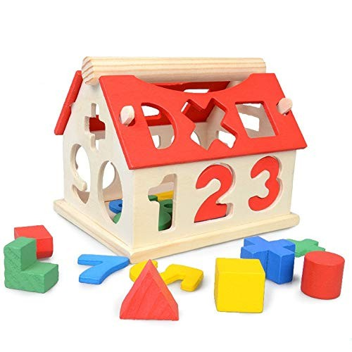 Wooden Toys House Number Letter Kids Children Learning Math Toy Multicolor Educational Intellectual Building Blocks