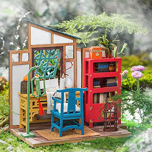 LIZHAIMING 3D Wooden Puzzle Mechanical Model Kits Chinese Style DIY Cabin Stress Relief Gifts Adults Craft