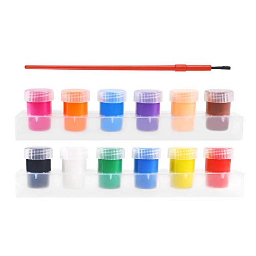 N Z 12 Color Children's Washable Tempera Paint Set Rainbow Finger Pad for Kids Educatioanl Assorted School Art Supplies