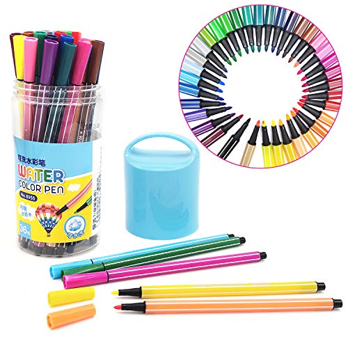 36Pcs Kids Coloring Pen Student Watercolor Set for Books Calligraphy Doodles Drawing Hand Lettering Note Taking