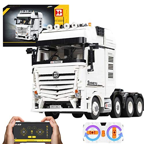 WOLFBSUH Race Car Remote Control Truck Building Set STEM Toy 2681Pcs 24G 4CH Blocks and Engineering Model with Scale Engine