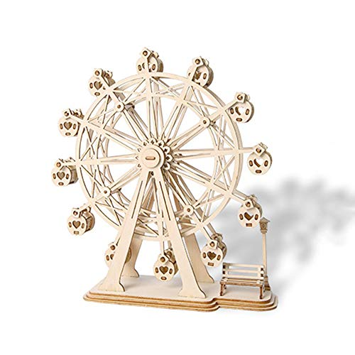 LIZHAIMING 3D Wooden Puzzle Mechanical Model Kits for Adults DIY Craft As Stress Relief Gifts Women and Men Ferris Wheel 120 Pieces