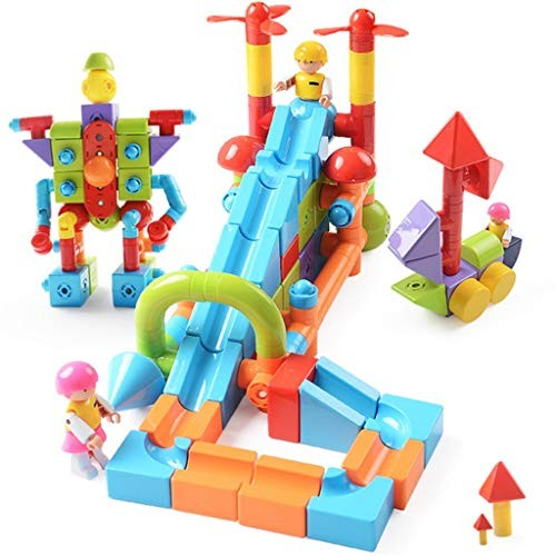 ERDFCV Magnetic Blocks with Pipeline -115 Pieces of 3D Building Construction Bricks Set – Children's Various Assembly Magnets Brain Games