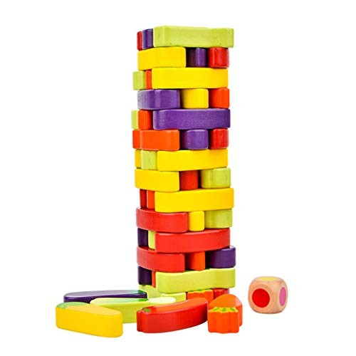sara-u 55Pcs Vegetables Wooden Stacking Toys Board Games Building Blocks Educational Toy for Children
