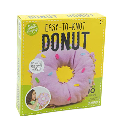 Horizon Group Sew-Mazing Easy-to-Knot Donut Maker Kit Pillow Making for Kids Craft DIY Project Plush Fun No Sewing