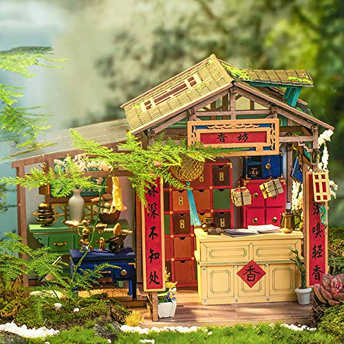 LIZHAIMING Wooden 3D Puzzle Mechanical Model Kits Chinese Style DIY Cabin Adults Craft Stress Relief Gifts