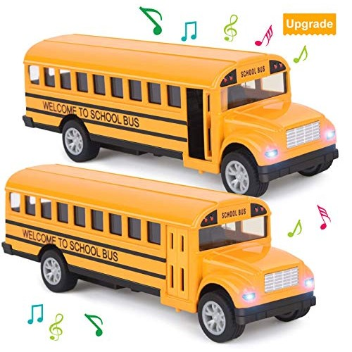 Think Wing School Bus Toy for Toddlers – 5 Inch 2 Set Die-cast Play