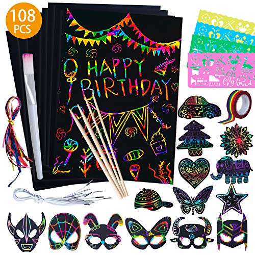 108 Pcs Scratch Art and Crafts for Kids Rainbow Paper Set Magic Painting Kits Black Bookmarks Activities Party Game Birthday Gift with Wooden StylusDrawing StencilsTape