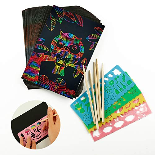iManson Scratch Art Paper Set for Kids 50Pcs Rainbow Crafts kit Black Off Noteswith 5 Wooden Stylus 4 Drawing Stencils Birthday Party Game Activities Gift