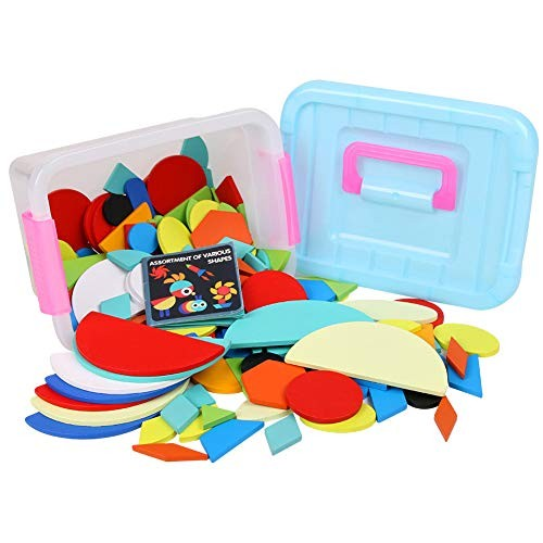 Yaoyodd19 160Pcs Kids Early Educational Toy Wooden Tangram Building Blocks Jigsaw Puzzle Multicolor