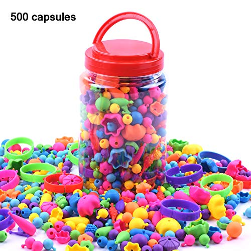 FreeLeben 500pcs Jewelry Making Kit Toys DIY Beads Girls Toy Bracelet Arts and Crafts for Birthday Gifts