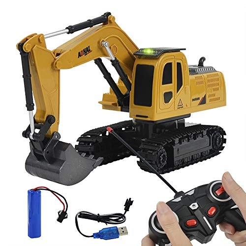 JHHxW Excavator Simulation Remote Control Crawler Electric Toy Alloy Engineering Vehicle Model Workbench Can Rotate 270 Children Car