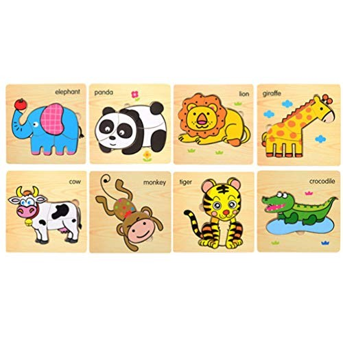 NUOBESTY Wooden Animal Jigsaw Puzzle for Kids 8Pcs Preschool Building Blocks Puzzles Educaltional Toy 3D Creative Theme Set Gifts